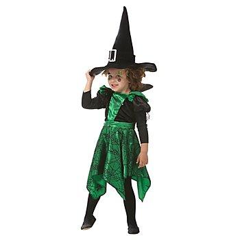 Robe de sorcière araignée pour enfants, noir/vert