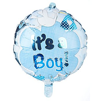 Ballon gonflable 'It's a boy', bleu/blanc, 43 cm Ø