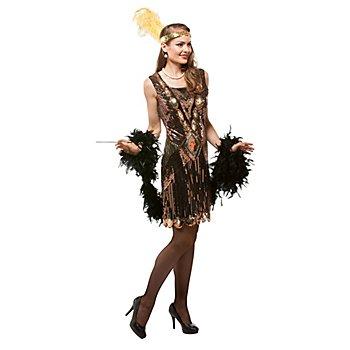 Charleston-Kleid, schwarz/kupfer