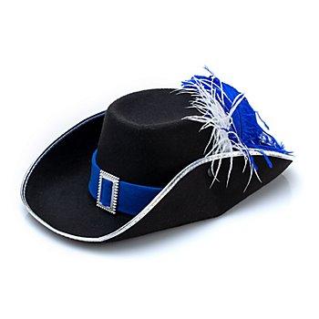 buttinette Musketierhut, schwarz/blau/silber