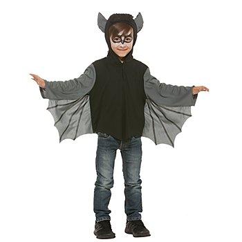 Fledermaus-Cape für Kinder, schwarz/grau