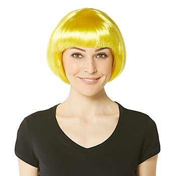 Perruque bob avec frange, jaune