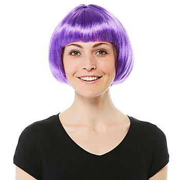 Perruque bob avec frange, violet