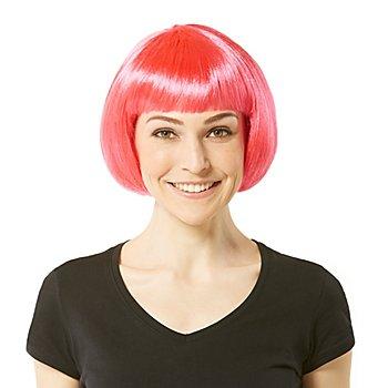 Perruque bob avec frange, rose vif