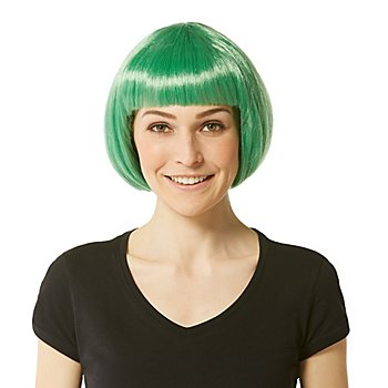Perruque bob avec frange, vert foncé