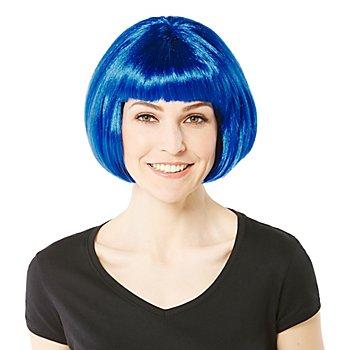 Perruque bob avec frange, bleu foncé