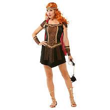 Gladiatorin-Kostüm 'Xanthia', braun/schwarz/rot