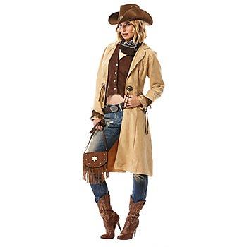 Cowgirl-Mantel und Weste, beige/braun