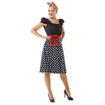 Fifties-Kleid für Damen, blau-weiss