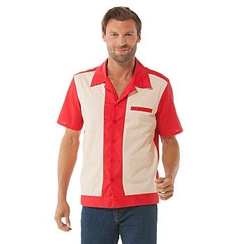 Bowling-Hemd für Herren, rot-beige