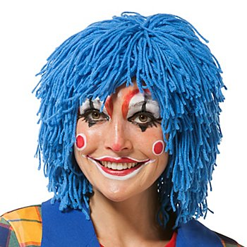 Wollperücke 'Clown', blau