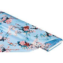 Tissu satin imprimé 'Asie', turquoise/multicolore