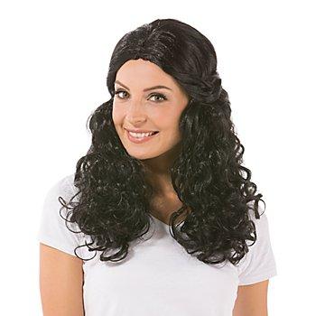 Perruque à cheveux bouclés 'Mara', noir