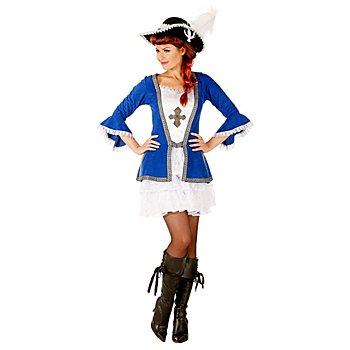 buttinette Musketier-Kostüm für Damen, blau/weiß