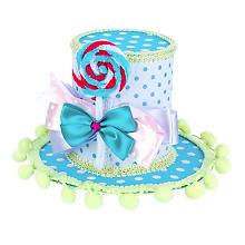 Mini haut-de-forme 'Candy', turquoise/blanc