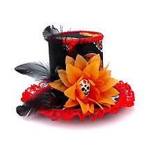 Mini haut-de-forme 'La Catrina', rouge/noir/orange/blanc