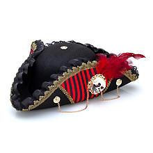 Dreispitz für Piraten, schwarz/rot
