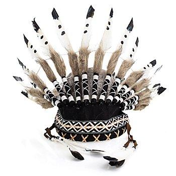 Kopfschmuck Indianer 'Blackfoot', weiß/schwarz/braun