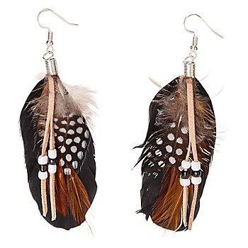 Boucles d'oreilles 'plumes', marron/noir
