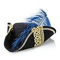 Tricorne avec plume, noir/or/bleu