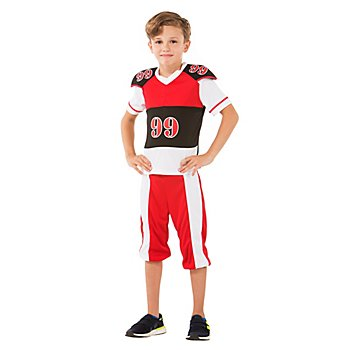 Footballer-Kostüm für Kinder, rot/schwarz