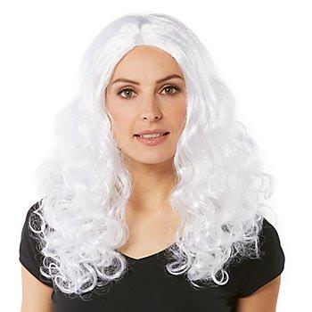 Perruque à cheveux bouclés 'Lara', blanc