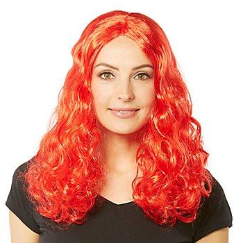 Perruque à cheveux bouclés 'Lara', rouge