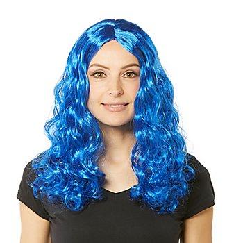 Perruque à cheveux bouclés 'Lara', bleu