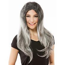 Perruque à cheveux longs 'Stone', gris/noir