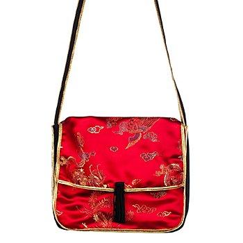 Asia-Tasche, rot/schwarz/gold