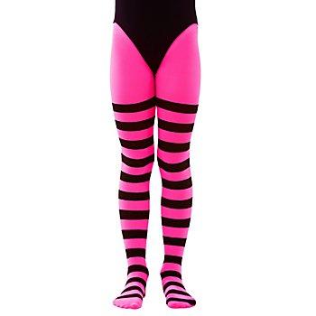 Kinder-Ringelstrumpfhose, pink/schwarz