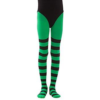 Collants à rayures pour enfants, vert fluo/à rayures noires