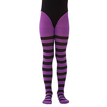 Collants à rayures pour enfants, violet/à rayures noires