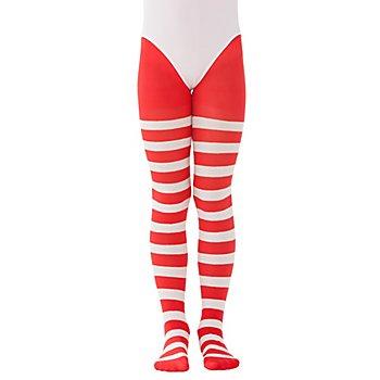 Collants à rayures pour enfants, rouge/à rayures blanches