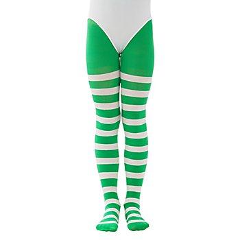 Collants à rayures pour enfants, vert/à rayures blanches