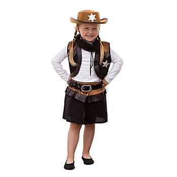 Cowgirl Kostüm für Kinder, schwarz/braun