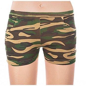 Mini-short 'camouflage', vert/marron