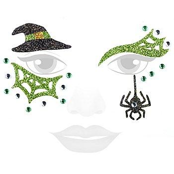 Face Art Tatouage 'sorcière', vert/noir