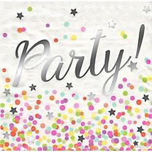 Papierservietten 'Party!', metallic, 33 x 33 cm, 16 Stück