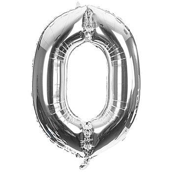 Folienballon '0', silber, 86 cm