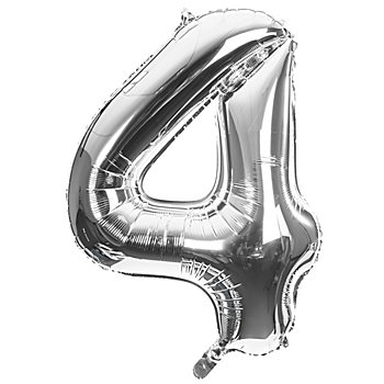 Folienballon '4', silber, 86 cm