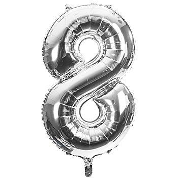 Folienballon '8', silber, 86 cm
