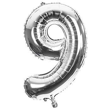 Folienballon '9', silber, 86 cm