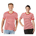 """Shirt rayé à manches courtes """"rayures rouges"""" pour hommes ou femmes"""