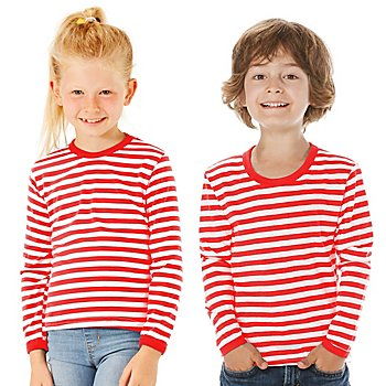 Langärmeliges Ringelshirt 'Red Stripes' für Kinder
