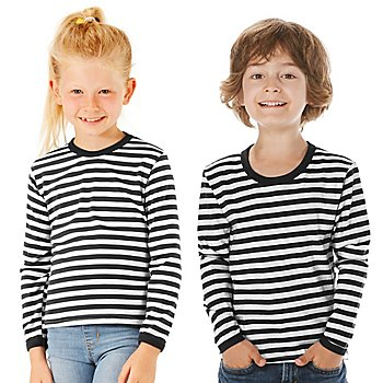 Langärmeliges Ringelshirt 'Black Stripes' für Kinder