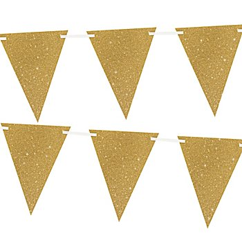 Wimpelkette 'Glitter', gold, 6 m