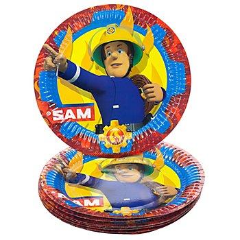 Assiettes en carton 'Sam le pompier', 23 cm Ø, 8 pièces